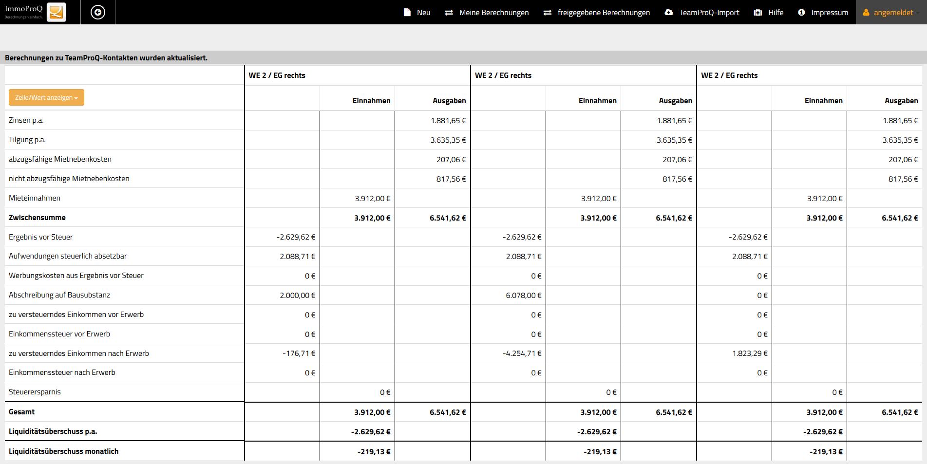 Immobilienberechnungen vergleichen mit ImmoProQ