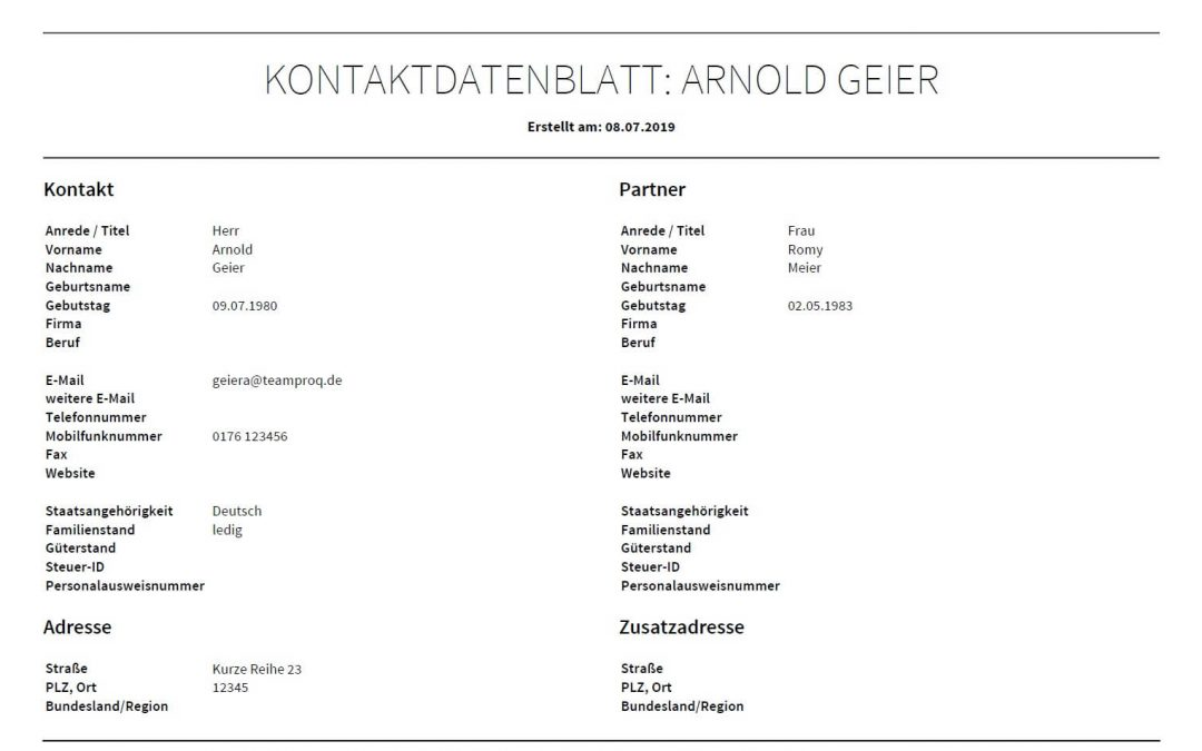 Modul Kontakte: Neues Kontaktdatenblatt